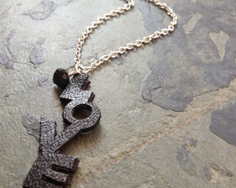 Special Gift Black Love Letter Pleather Pendant Necklace handmade in Chicago by VZuniga Design