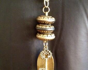 Vintage brass antique key necklace. Handmade brass jewelry.  Great gift ideas. Unique chic jewelry. Everyday jewelry. Trendy jewelry.