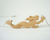 Wood Mermaid Pendant Necklace Wooden Nautical Siren Jewelry Maple Hand Cut Scroll Saw