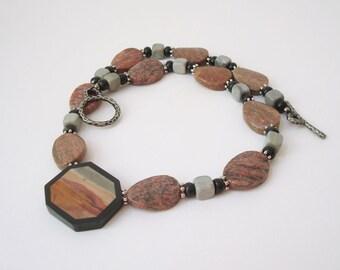 Gemstone Intarsia Pendant Necklace Beaded Desert Scene Necklace Gemstone Picture Pendant Inlay Necklace Rhodonite Lepidolite