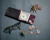 Minimal Snap Wallet- Money fold- minimal wallet- leather wallet- simple leather wallet