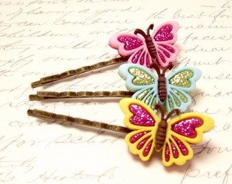 Set of 3 Colorful Butterfly Button Bobby Pins. Butterfly Hair Pins in Pink, Yellow, and Blue