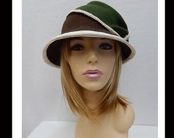 Women's Cloche Hat, Women's Felted Cloche Hat, Vintage, Hat, Felted, green, brown, ivory,  Downton abbey, #-157