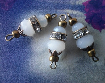 6 Piece Vintage  Frost White Crystal  Rhinestone Connectors With Brass Claw Setting and Loops, Loose Rhinestone Connectors  Jewelry Making