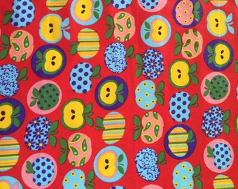 Apple print polycotton, bright Apple polycotton great for bunting