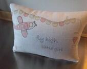girl pillow new baby gift pink airplane throw pillow linen cushion toddler girl present baby room decor minimal nursery decor girl birthday