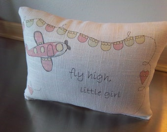 Linen cushion girl pillow new baby gift pink airplane throw pillow toddler girl birthday present baby room decor minimal nursery decor gift