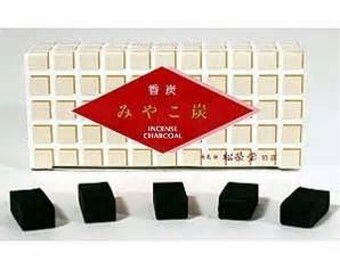 Premium bamboo incense charcoal made without chemicals including saltpeter or sulfur used to burn natural and loose incense resin