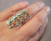 Vintage Sterling Turquoise Coral Petit Point Zuni Ring