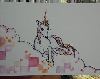 Watercolor/Ink-Fantasy-Unicorn. Cubed.