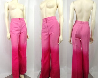 Vintage 1970s pink maroon ombre bell bottom jeans Jean jacket lace accent High waist dip dye Medium roller disco Valentines day retro
