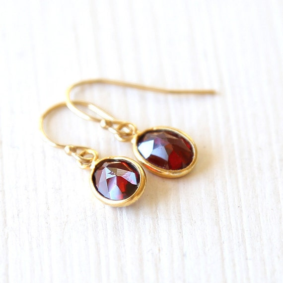 Tiny Garnet Drop Earrings - On 14K gold filled hooks - simple red everyday wedding jewelry