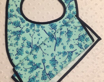 Light Blue Floral Baby Bib and Burp Cloth Set - Minky Baby Shower Gift - Can Be Monogrammed with Baby's Name or Initials