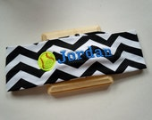 Softball CHEVRON Stretch Headband PERSONALIZED and CUSTOMIZABLE with your name and colors and many sports available