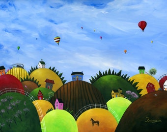 Hilly Habitat Giclée Archival Print - Paper or Canvas - Various Sizes - Country Landscape with Hot Air Balloons