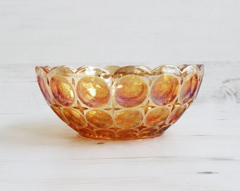 Vintage Large Amber Fruit Bowl - Glass Orange Circular Display Houseware Glassware