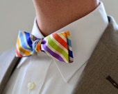 Men's Bow Tie in Bright Plaid- wedding groomsmen freestyle slim custom bowtie neck self tie cotton rainbow blue green orange red multicolor