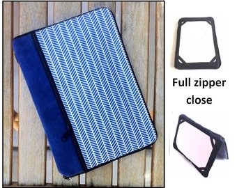 personalized HARD case - ipad case/ kindle case/ nook case/ others - full zipper close - blue herringbone
