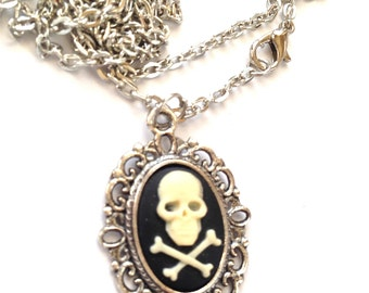 Skull and bones cameo necklace