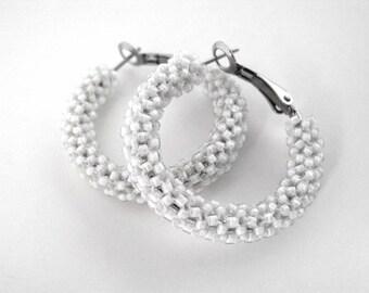 Alabaster white beaded hoop earrings, white beaded earrings, seed bead jewelry, white hoop earrings