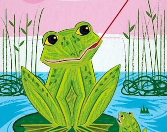 Flycatcher - Childrens Animal Art - Frog Poster Print by Oliver Lake - iOTA iLLUSTRATiON