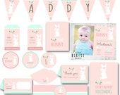 BUNNY BIRTHDAY INVITATION Some Bunny is turning one Invitation Cottage Chic Easter Party Party Pack Printables Cupcake Toppers Banner More