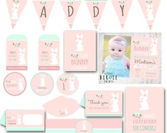 BUNNY BIRTHDAY INVITATION Some Bunny is turning one Invitation Cottage Chic Bunny first birthday Bunny first birthday party printables