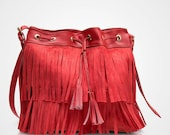 Women Red Fringe Messenger, Adjustable Sling Bag