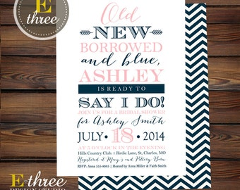 Navy and Pink Bridal Shower Invitation - Old New Borrowed and Blue Shower Invitations - Typography #1062