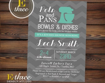 Kitchen Shower Invitations - Teal and Gray Chevron Bridal Shower Invitation - Wedding Shower invite #1070