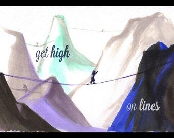 Get High On Lines - slackline illustration