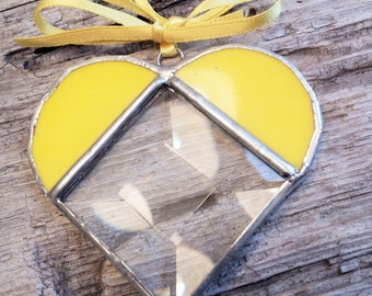 simple love heart in sunshine yellow stained glass ornament beveled glass center