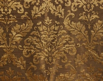 Gold And Olive Damask Fabric Upholstery Fabric Curtain Panels Drapery Fancy Fabric Window Treatment Fabric Geometric Pattern By The Yard