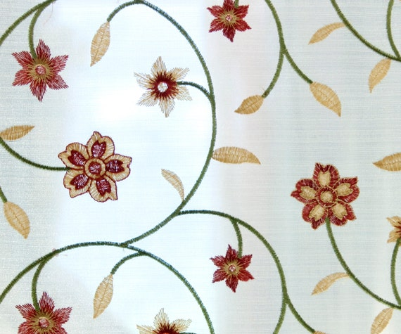 to Ivory Rust Ivy Embroidery Sheer 124 cm Curtain Fabric By the Yard ...