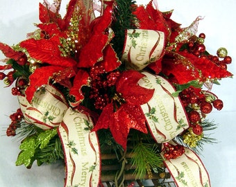 Traditional Poinsettia Centerpiece red gold Floral Arrangement Country Elegance Merry Christmas ribbon  by Cabin Cove Creations