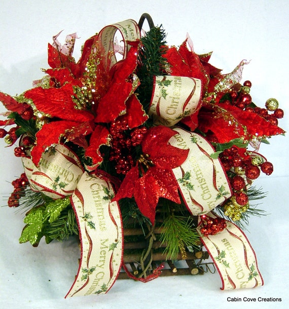 Traditional poinsettia centerpiece red gold floral arrangement for Poinsettia arrangements