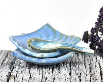 Ceramic Condiment Dishes with Spoon - handmade Pottery - Rustic Decor : set of two Dipping Dishes