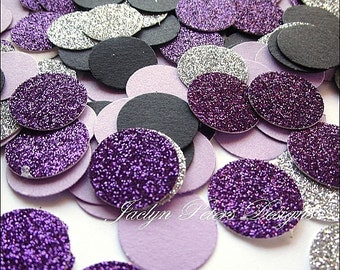 200 Piece, Party Confetti, Black, Purple And Silver Glitter, Table Scatter, Wedding Decorations, Bridal Shower Supply, Sweet 16, Birthday