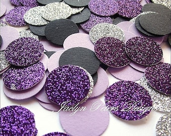 200 Piece Party Confetti Black Purple And Silver Glitter Table Scatter