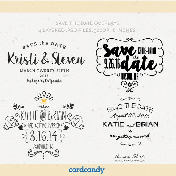 Digital Save the Date Overlays wedding photo card overlays – Wedding Save the Date Templates Free