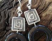 Geometrics - PMC and Black Onyx Donut Bead Earrings - Silver Dangle Earrings