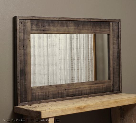 Wood Framed Mirror Reclaimed Barnwood Large By Kennethdante