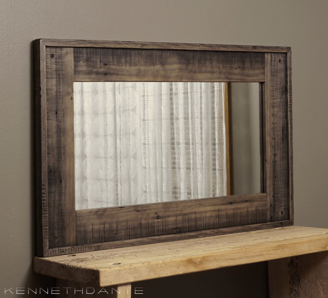 Wood framed mirror reclaimed barnwood large by kennethdante for Wood framed mirrors