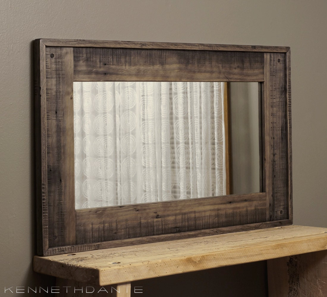 Wood framed mirror reclaimed barnwood large by kennethdante for Large wall mirror wood frame
