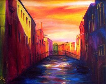 Venetian Canal, A4 Fine Art Painting Print