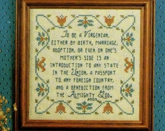 To Be A Virginian Samplers~Cross Stitch Patterns