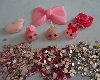 Kawaii decoden phone  deco diy teardrops pink bow cabochon charm kit  C 128--USA seller