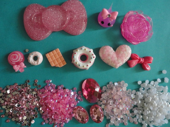 Kawaii decoden deco diy pink bow and teardrop cabochon kit  # 169---USA seller