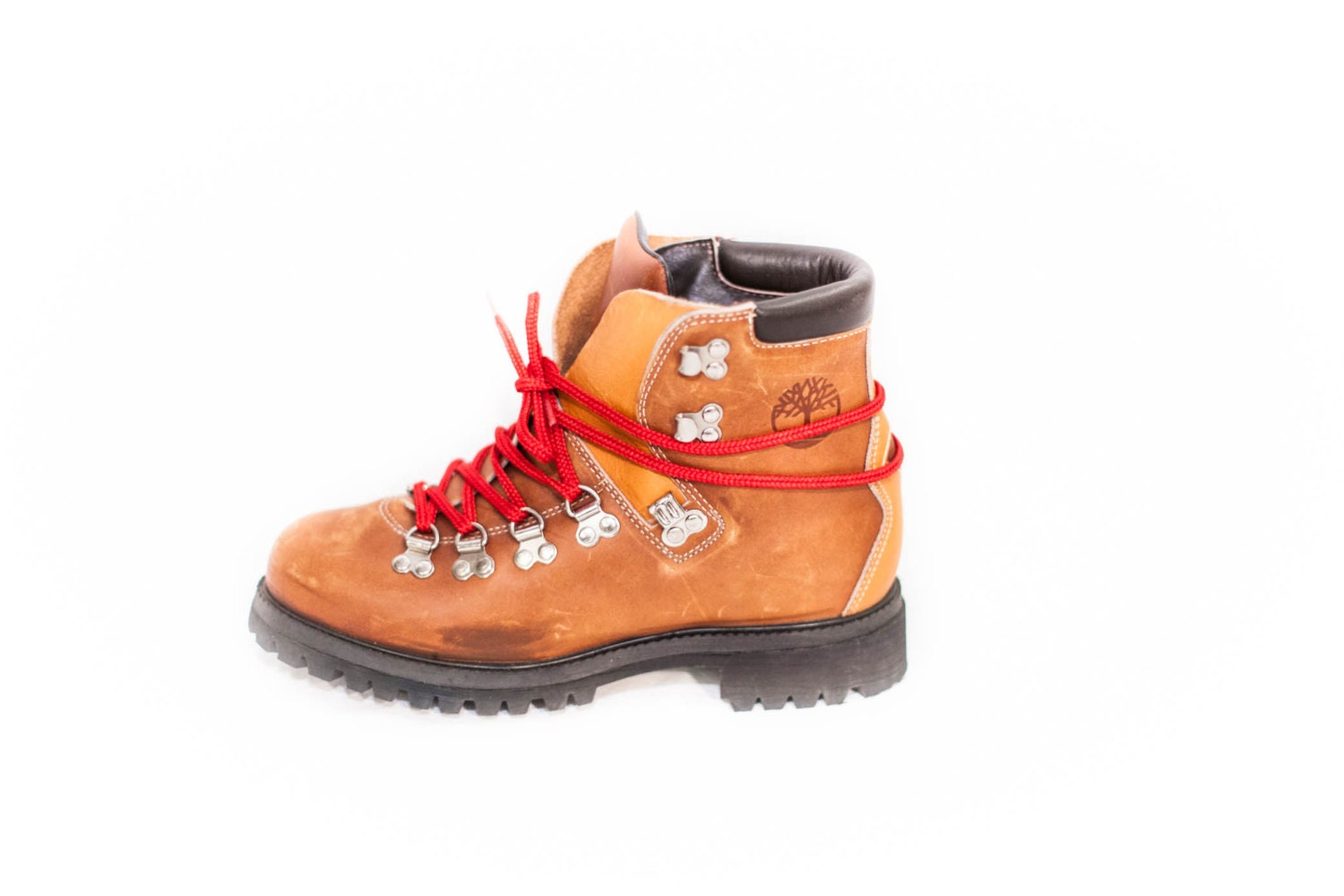 women's Timberland caramel brown leather hiking boots red