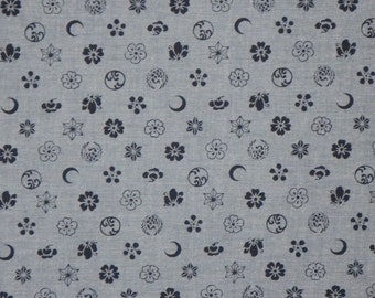 Indigo on Blue Chambray Japanese Print Pure Cotton Shirting Fabric--One Yard
